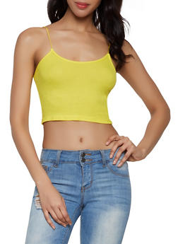 Cropped Rib Knit Cami - 1301058750639
