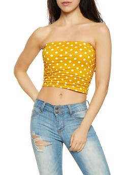 Ruched Polka Dot Tube Top - 1301058750886