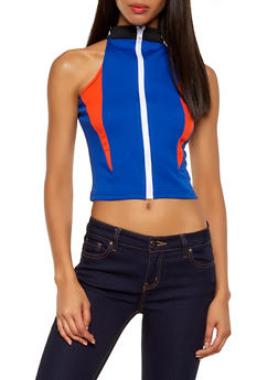 Color Block Zip Front Crop Top - 1301074290429