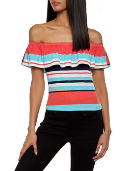 Rib Knit Striped Off the Shoulder Top - 1301074297135