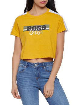Graphic Jersey Mesh Cropped Tee - GOLD - 1302015990475