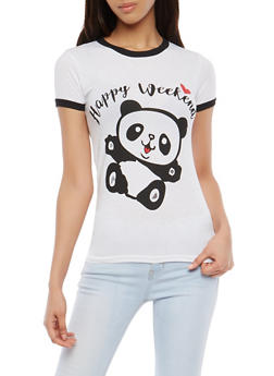 Happy Weekend Panda Graphic T Shirt - 1302033870602