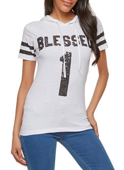 Sequin Blessed Graphic Top - 1302033871370