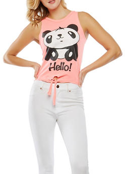 Panda Graphic Tie Front Tank Top - 1302033871653