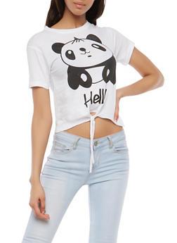 Hello Goodbye Panda Graphic Top - 1302033871655