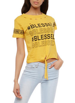 Blessed Graphic Tie Front T Shirt - 1302033872879