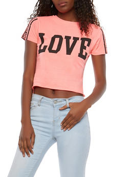Love Graphic Crop Top - 1302033872884