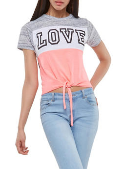 Love Graphic Tie Front Tee - 1302033876819