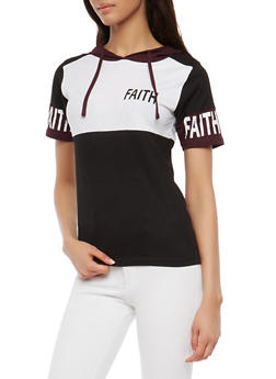 Faith Graphic Color Blocked Hooded Top - 1302033876952