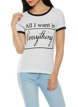 Contrast Trim Graphic T Shirt - 1302033877921