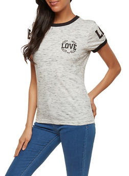 Love Graphic Contrast Trim T Shirt - 1302033879271