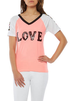 Love Sequin Graphic T Shirt - 1302033879341