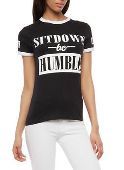Contrast Trim Graphic T Shirt - 1302033879537