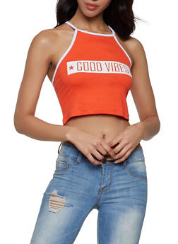Good Vibes Cropped Tank Top - 1302038349407