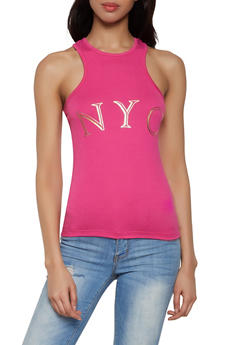 NYC Foil Graphic Racerback Tank Top - 1302038349411