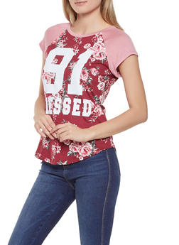 Blessed Graphic Floral Baseball Tee - 1302058751283