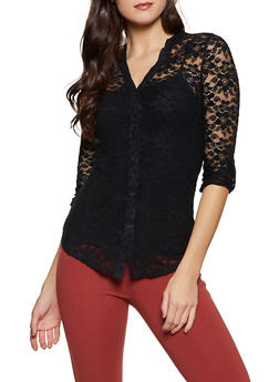 Lace Button Front Top - 1303015990038