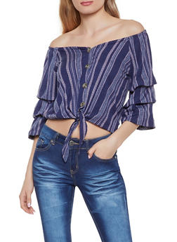 Striped Tiered Sleeve Off the Shoulder Top | 1303015990373 - 1303015990373