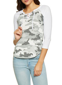 Camo Lace Up Baseball Tee - 1303015990472