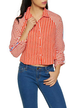Striped Tab Sleeve Shirt - 1303015990551