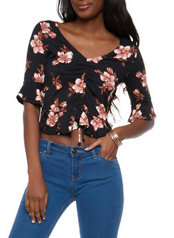 Black Floral Drawstring Front Top - 1303015994317