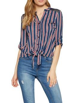 Striped Crochet Insert Shirt - 1303015995416