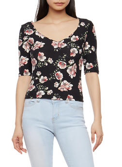 Floral Soft Knit Caged Back Top - 1303015996002