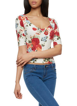 Floral Soft Knit Caged Back Top - 1303015996002