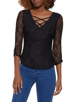 Caged V Neck Lace Top - 1303015996403