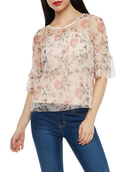 Floral Mesh Tiered Sleeve Top - 1303015996931