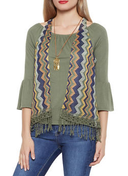 Bell Sleeve Top with Crochet Vest and Necklace - 1303015997000