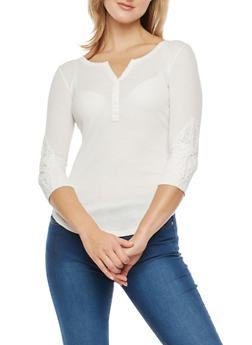 Rib Knit Henley Top with Crochet Sleeve Detail - 1303015998071