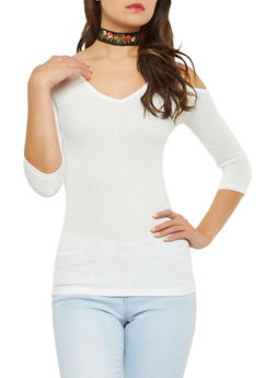 Ribbed Knit Cold Shoulder Top with Choker - 1303038342654