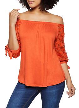 Crochet Sleeve Off the Shoulder Top - 1303054262300