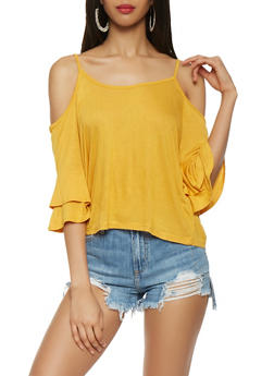Tiered Sleeve Cold Shoulder Top - 1303054265879
