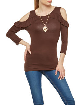 Ruffled Cold Shoulder Top with Necklace - 1303058750465