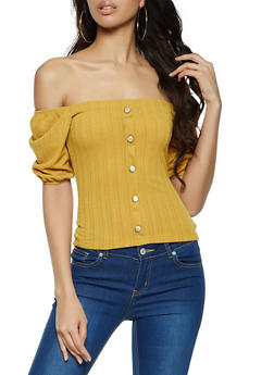 Rib Knit Gold Button Detail Top - 1303058750859
