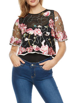 Embroidered Mesh Zip Back Top - 1303058752107