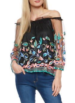 Embroidered Mesh Off the Shoulder Top - 1303058752162