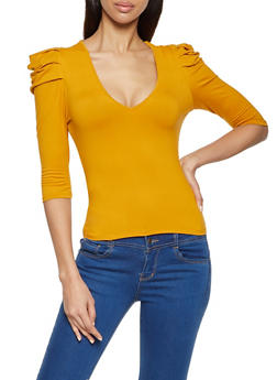 Puff Shoulder Three Quarter Sleeve Top - 1303058752562