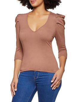 Puff Shoulder Three Quarter Sleeve Top - 1303058752562