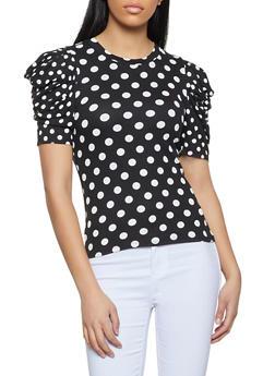 Polka Dot Puff Sleeve Top - 1303058754081