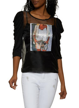 Graphic Patch Organza Top - 1303058754131