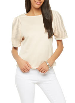 Ponte Pleated Sleeve Top - 1303074290149
