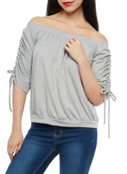 Off the Shoulder Ruched Drawstring Sleeve Top - 1303074290181