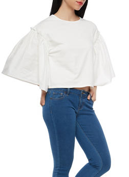 Solid Bell Sleeve Top - 1303074290424
