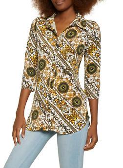 Three Quarter Sleeve Status Print Shirt - 1303074290448
