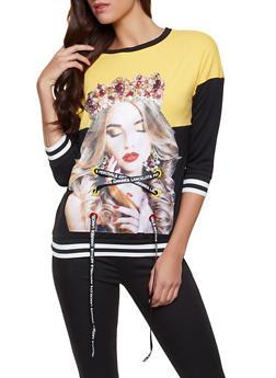 Studded Lace Up Graphic Sweatshirt - 1303074294106