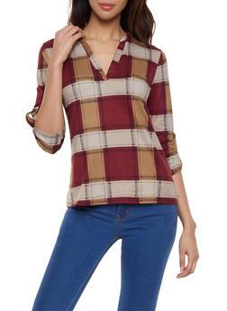 Plaid Tab Sleeve Top - 1303074294137