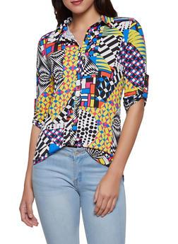 Geometric Print Shirt - 1303074294159